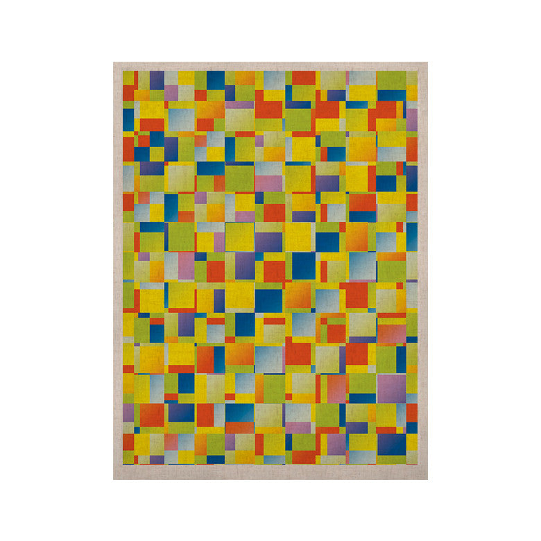 "Dawid Roc ""Multi Color Blocking"" Yellow Geometric KESS Naturals Canvas (Frame not Included) - KESS InHouse  - 1"