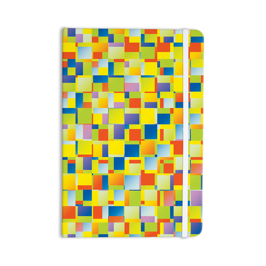 "Dawid Roc ""Multi Color Blocking"" Yellow Geometric Everything Notebook - KESS InHouse  - 1"