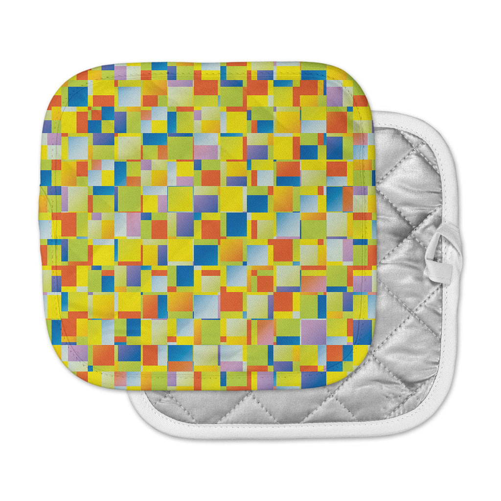 "Dawid Roc ""Multi Color Blocking"" Yellow Geometric Pot Holder"