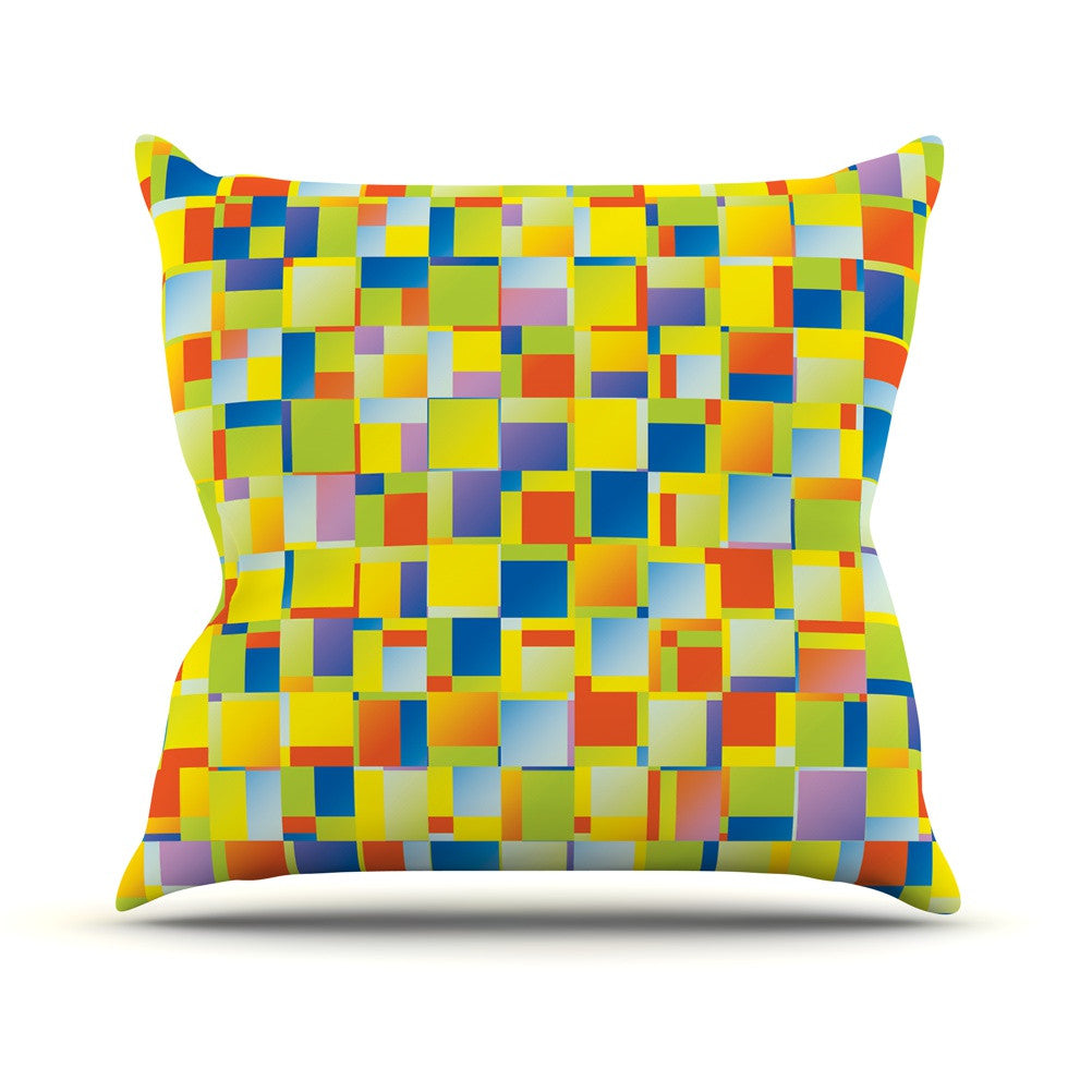 "Dawid Roc ""Multi Color Blocking"" Yellow Geometric Outdoor Throw Pillow - KESS InHouse  - 1"