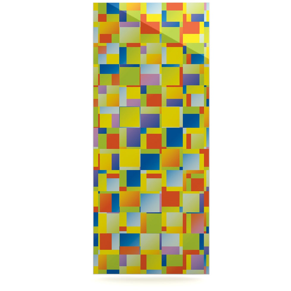 "Dawid Roc ""Multi Color Blocking"" Yellow Geometric Luxe Rectangle Panel - KESS InHouse  - 1"