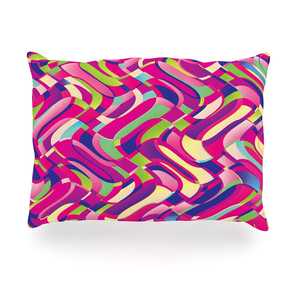 "Dawid Roc ""Colorful Movement"" Pink Abstract Oblong Pillow - KESS InHouse"