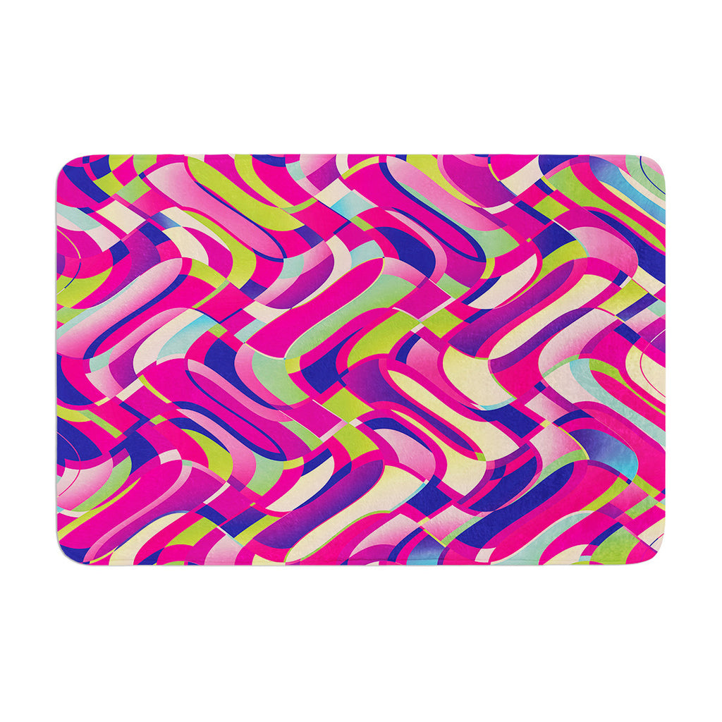 "Dawid Roc ""Colorful Movement"" Pink Abstract Memory Foam Bath Mat - KESS InHouse"