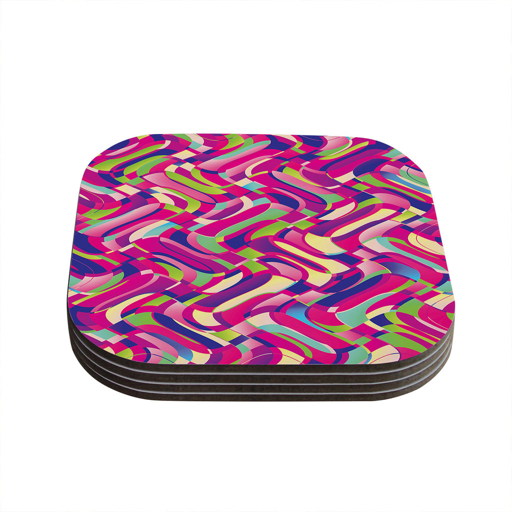 "Dawid Roc ""Colorful Movement"" Pink Abstract Coasters (Set of 4)"