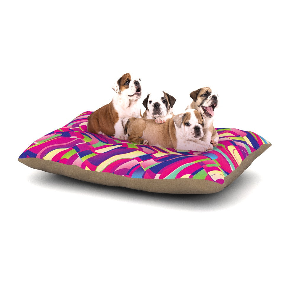 "Dawid Roc ""Colorful Movement"" Pink Abstract Dog Bed - KESS InHouse  - 1"