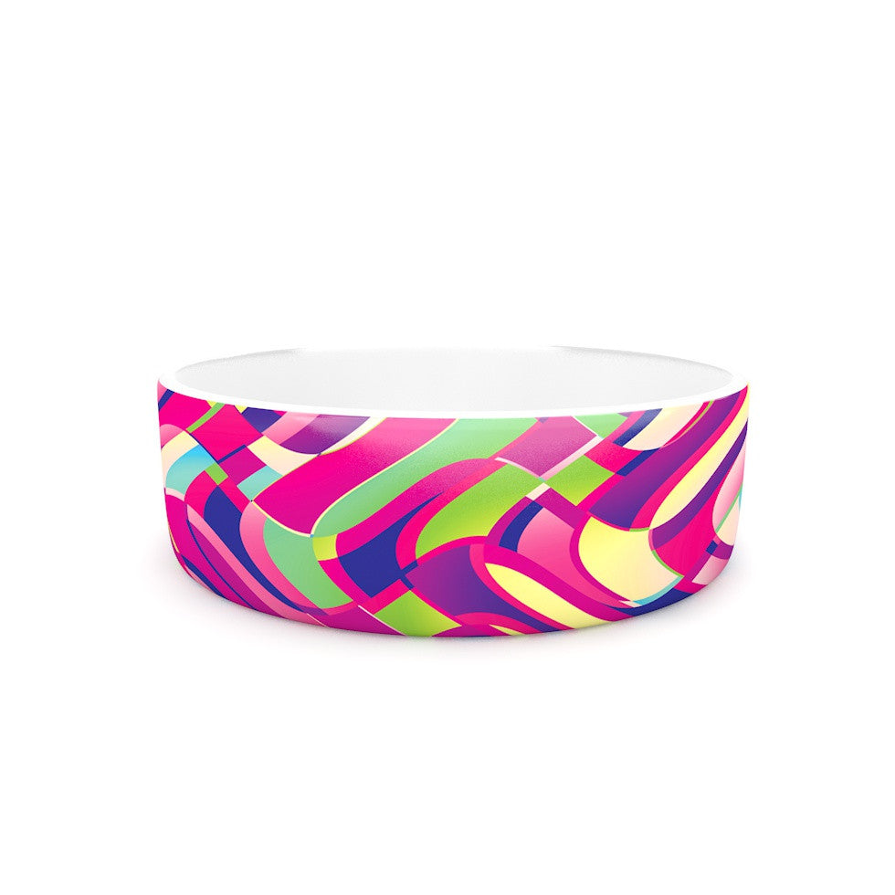"Dawid Roc ""Colorful Movement"" Pink Abstract Pet Bowl - KESS InHouse"
