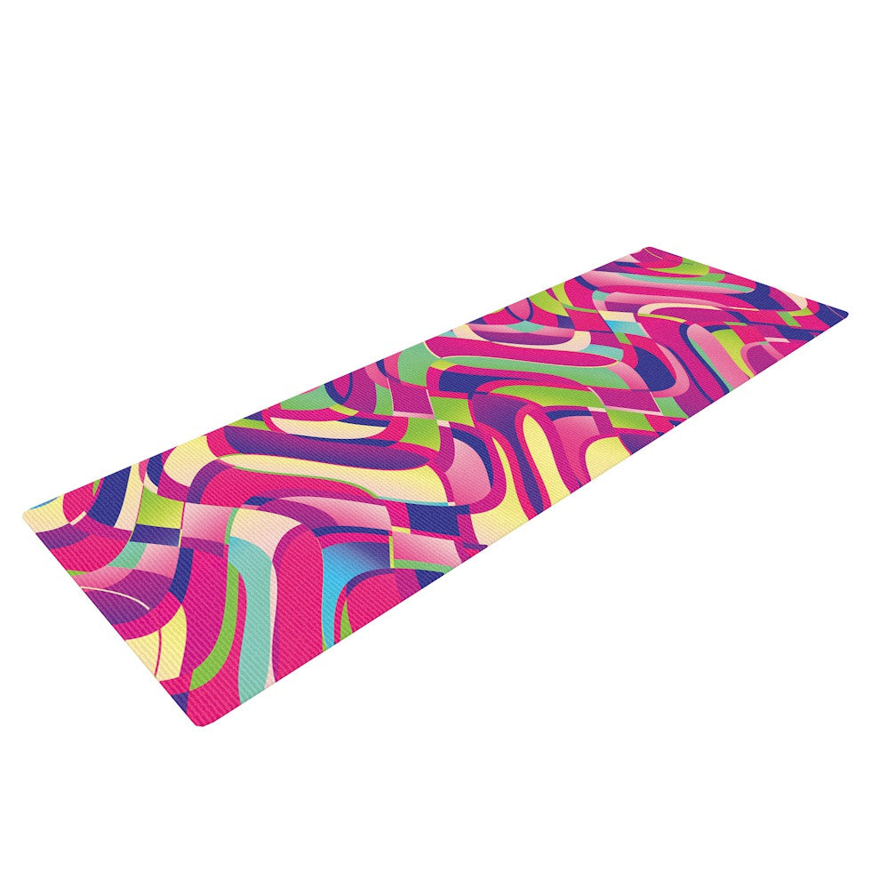 "Dawid Roc ""Colorful Movement"" Pink Abstract Yoga Mat - KESS InHouse  - 1"