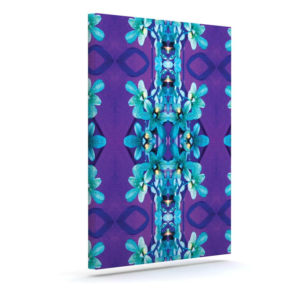 "Dawid Roc ""Blue Orchids"" Teal Floral Canvas Art - KESS InHouse  - 1"