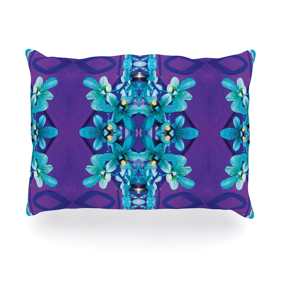 "Dawid Roc ""Blue Orchids"" Teal Floral Oblong Pillow - KESS InHouse"