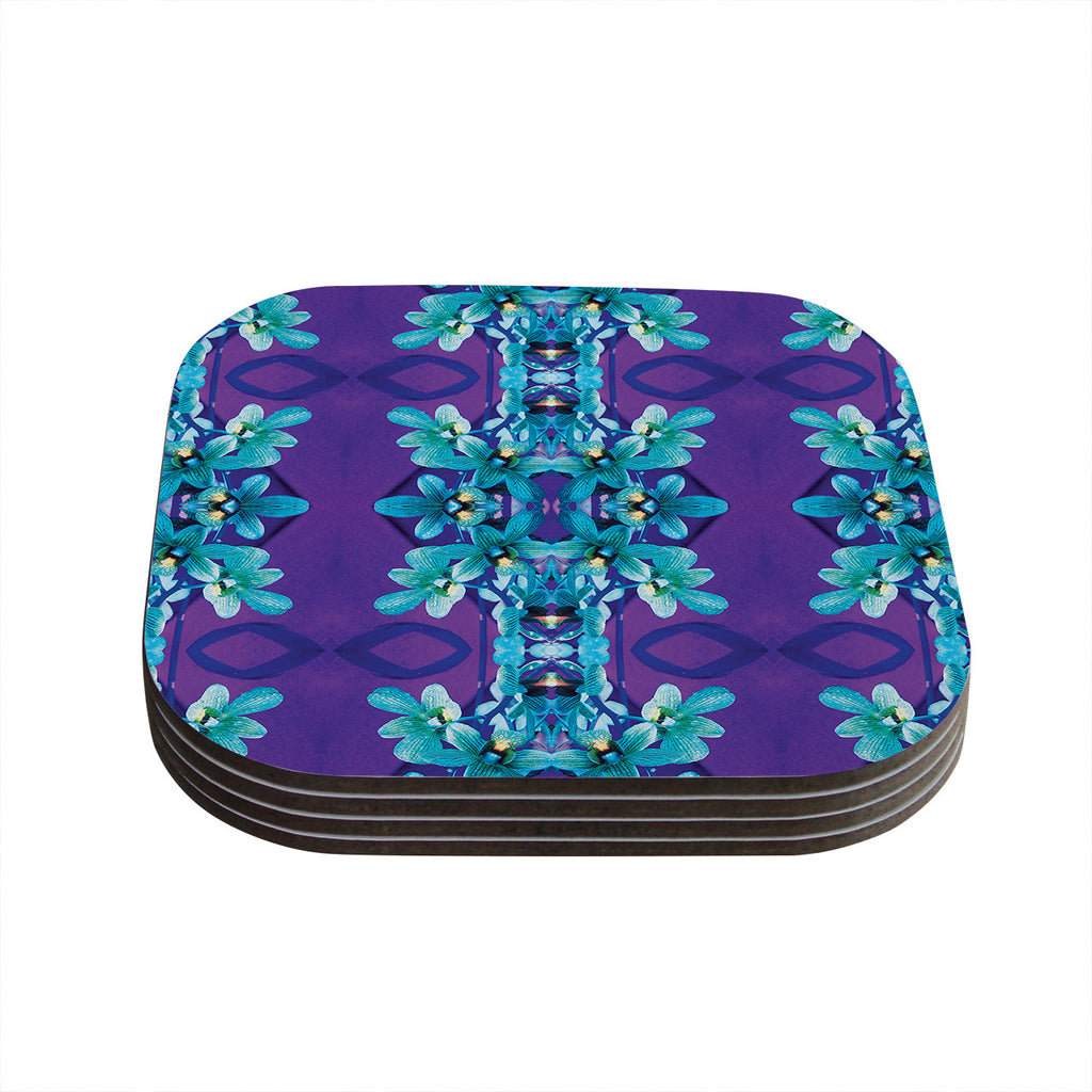 "Dawid Roc ""Blue Orchids"" Teal Floral Coasters (Set of 4)"