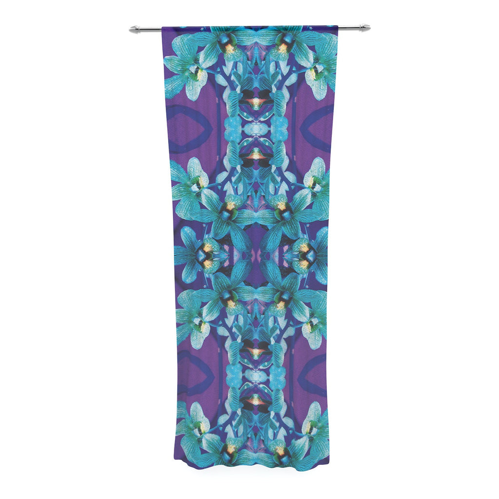 "Dawid Roc ""Blue Orchids"" Teal Floral Decorative Sheer Curtain - KESS InHouse  - 1"