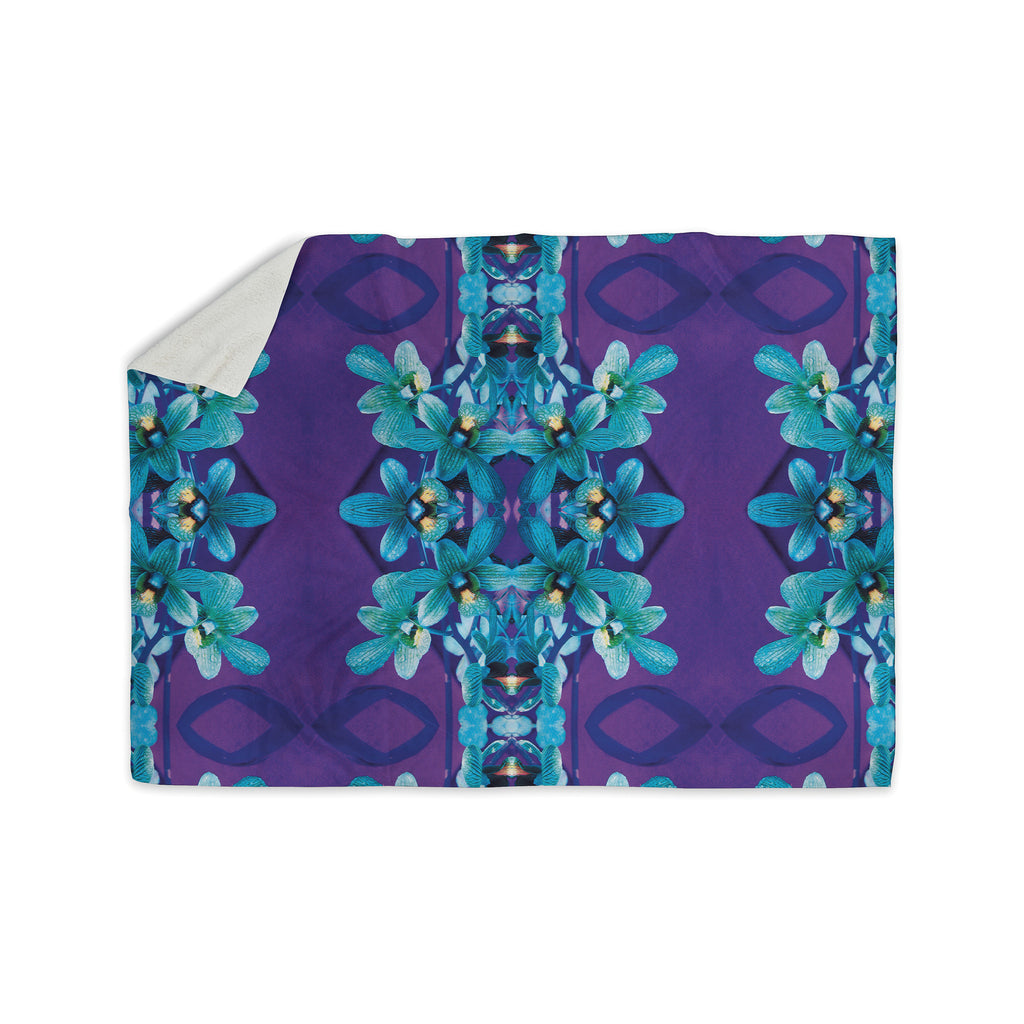 "Dawid Roc ""Blue Orchids"" Teal Floral Sherpa Blanket - KESS InHouse  - 1"