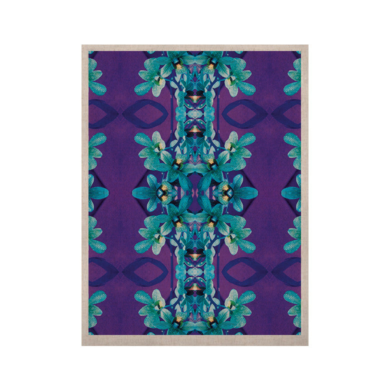 "Dawid Roc ""Blue Orchids"" Teal Floral KESS Naturals Canvas (Frame not Included) - KESS InHouse  - 1"