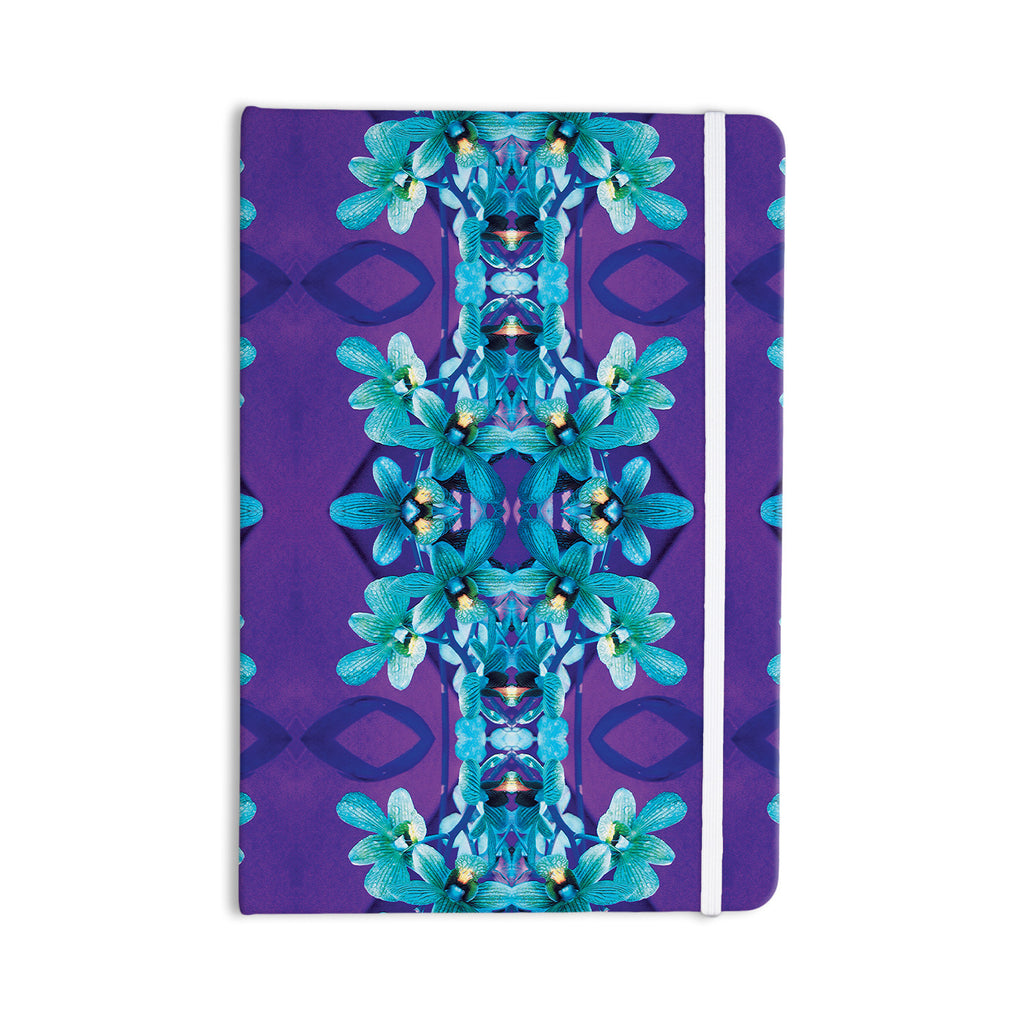 "Dawid Roc ""Blue Orchids"" Teal Floral Everything Notebook - KESS InHouse  - 1"