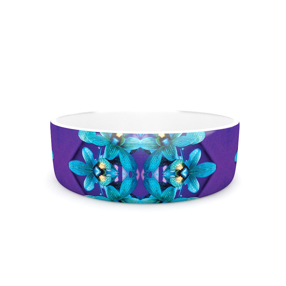 "Dawid Roc ""Blue Orchids"" Teal Floral Pet Bowl - KESS InHouse"