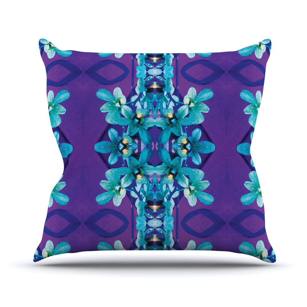 "Dawid Roc ""Blue Orchids"" Teal Floral Throw Pillow - KESS InHouse  - 1"