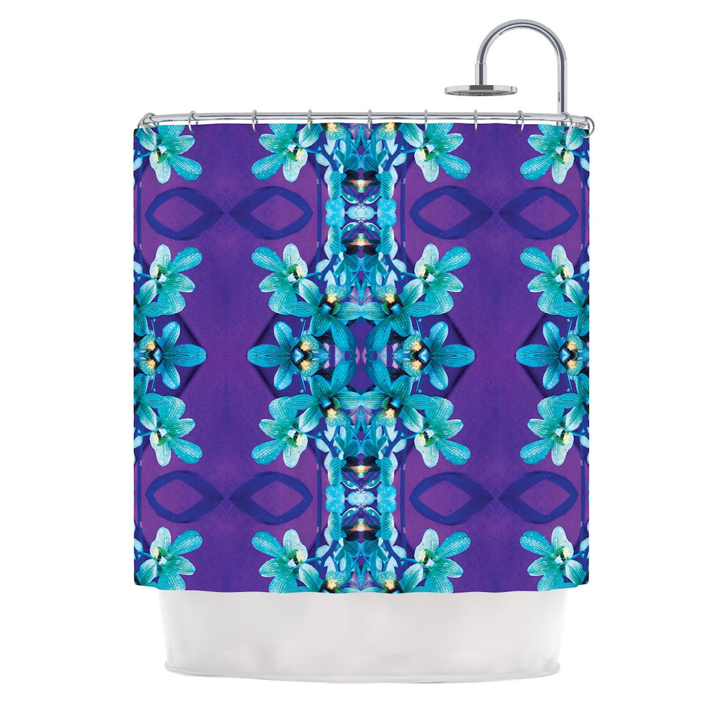 "Dawid Roc ""Blue Orchids"" Teal Floral Shower Curtain - KESS InHouse"