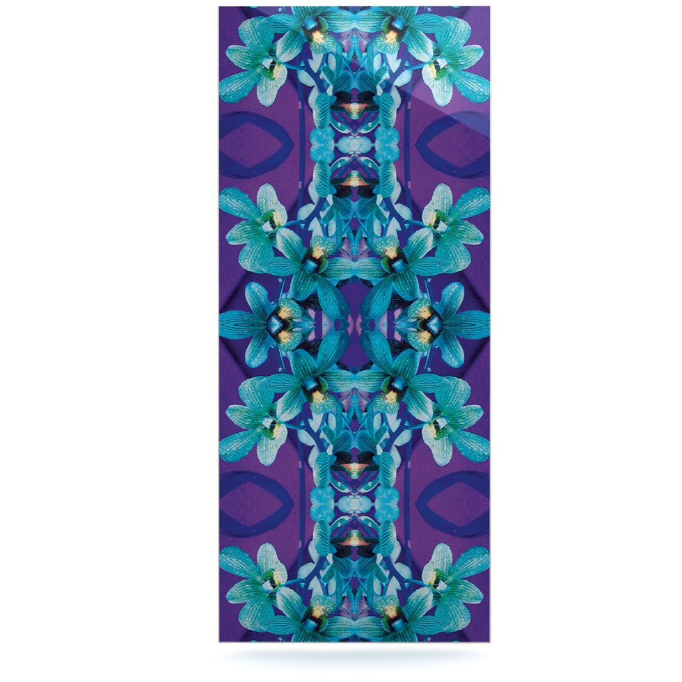 "Dawid Roc ""Blue Orchids"" Teal Floral Luxe Rectangle Panel - KESS InHouse  - 1"