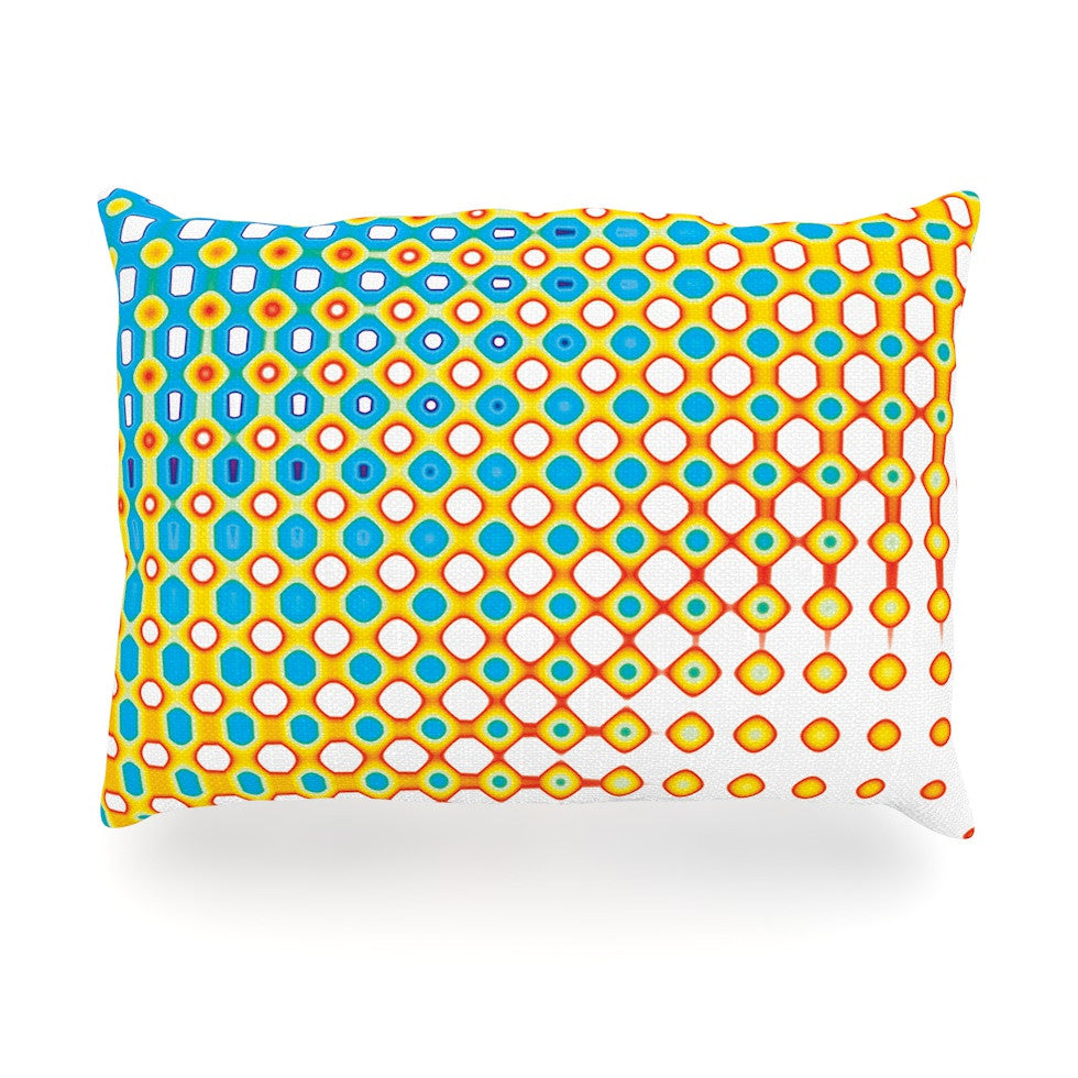 "Dawid Roc ""Psychedelic Art"" Yellow Blue Oblong Pillow - KESS InHouse"