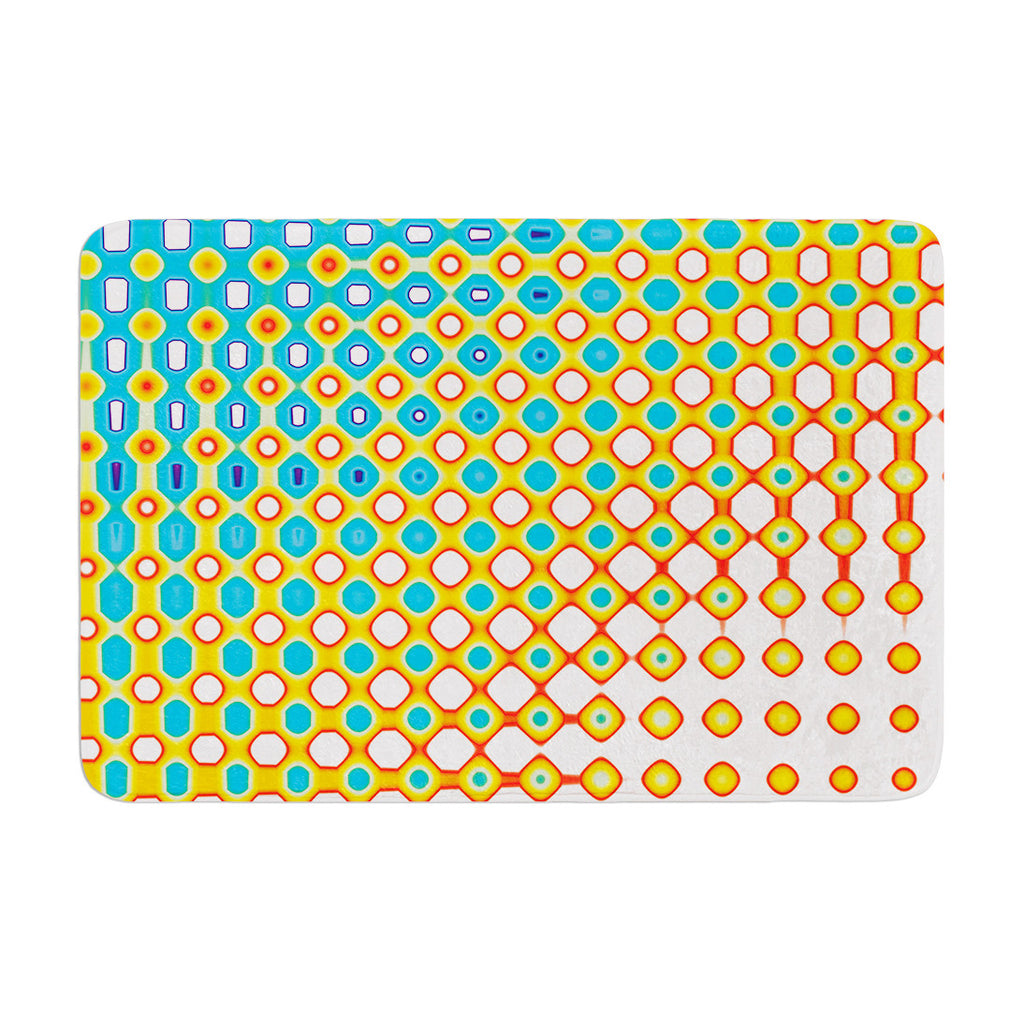 "Dawid Roc ""Psychedelic Art"" Yellow Blue Memory Foam Bath Mat - KESS InHouse"