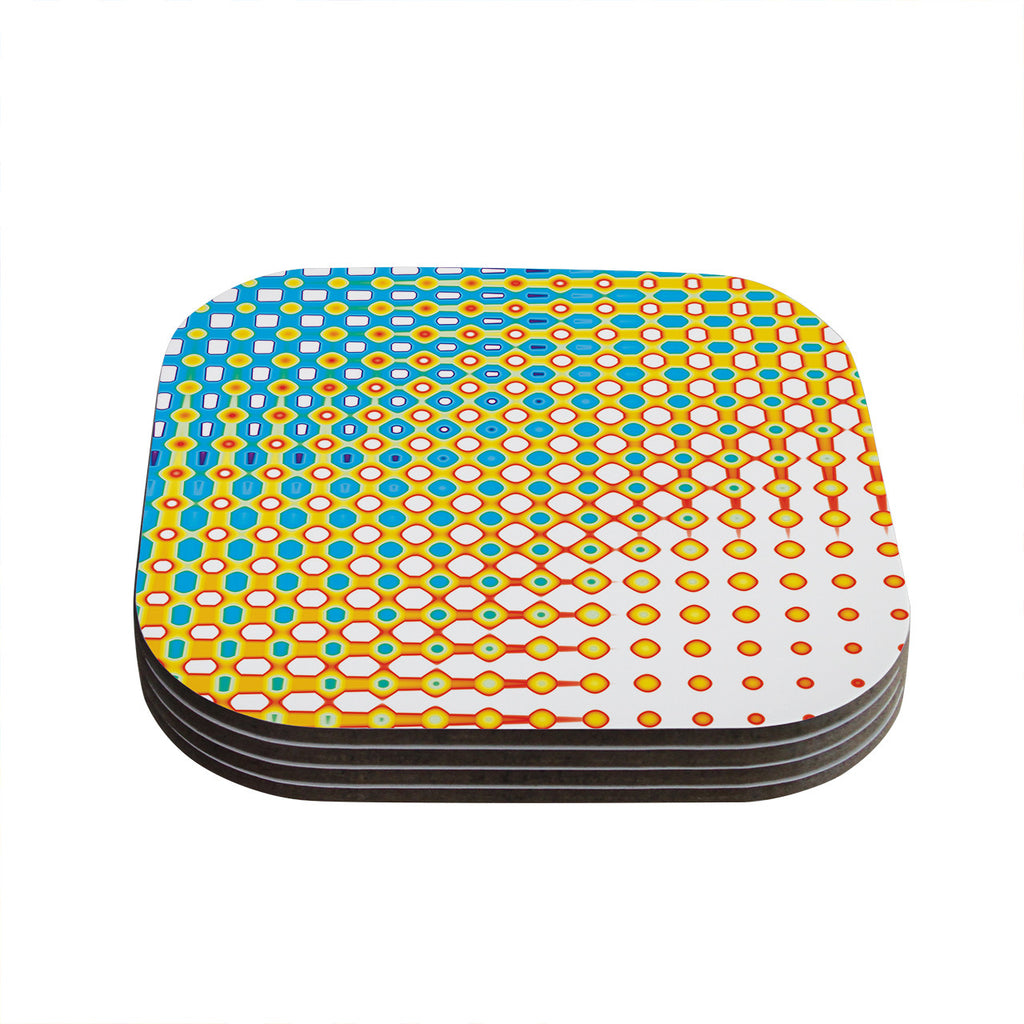 "Dawid Roc ""Psychedelic Art"" Yellow Blue Coasters (Set of 4)"