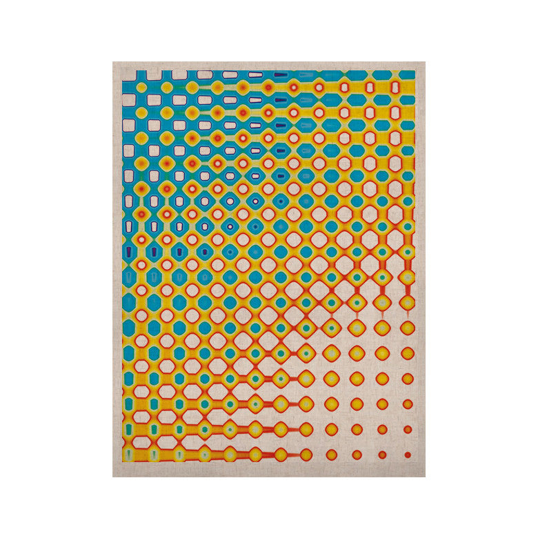 "Dawid Roc ""Psychedelic Art"" Yellow Blue KESS Naturals Canvas (Frame not Included) - KESS InHouse  - 1"