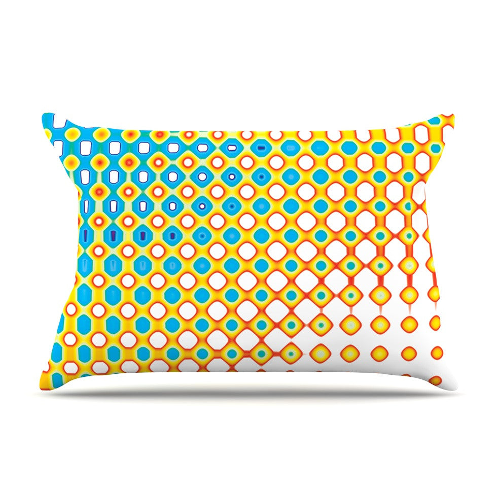"Dawid Roc ""Psychedelic Art"" Yellow Blue Pillow Sham - KESS InHouse"