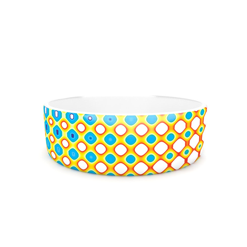 "Dawid Roc ""Psychedelic Art"" Yellow Blue Pet Bowl - KESS InHouse"