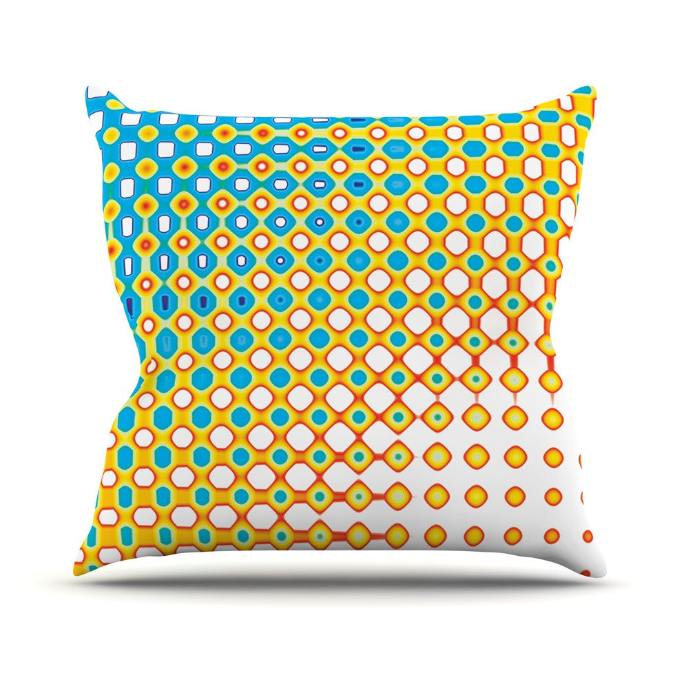 "Dawid Roc ""Psychedelic Art"" Yellow Blue Throw Pillow - KESS InHouse  - 1"