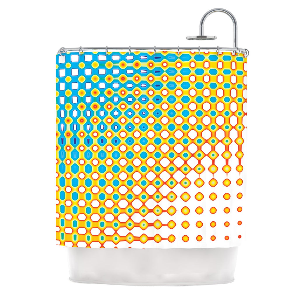"Dawid Roc ""Psychedelic Art"" Yellow Blue Shower Curtain - KESS InHouse"