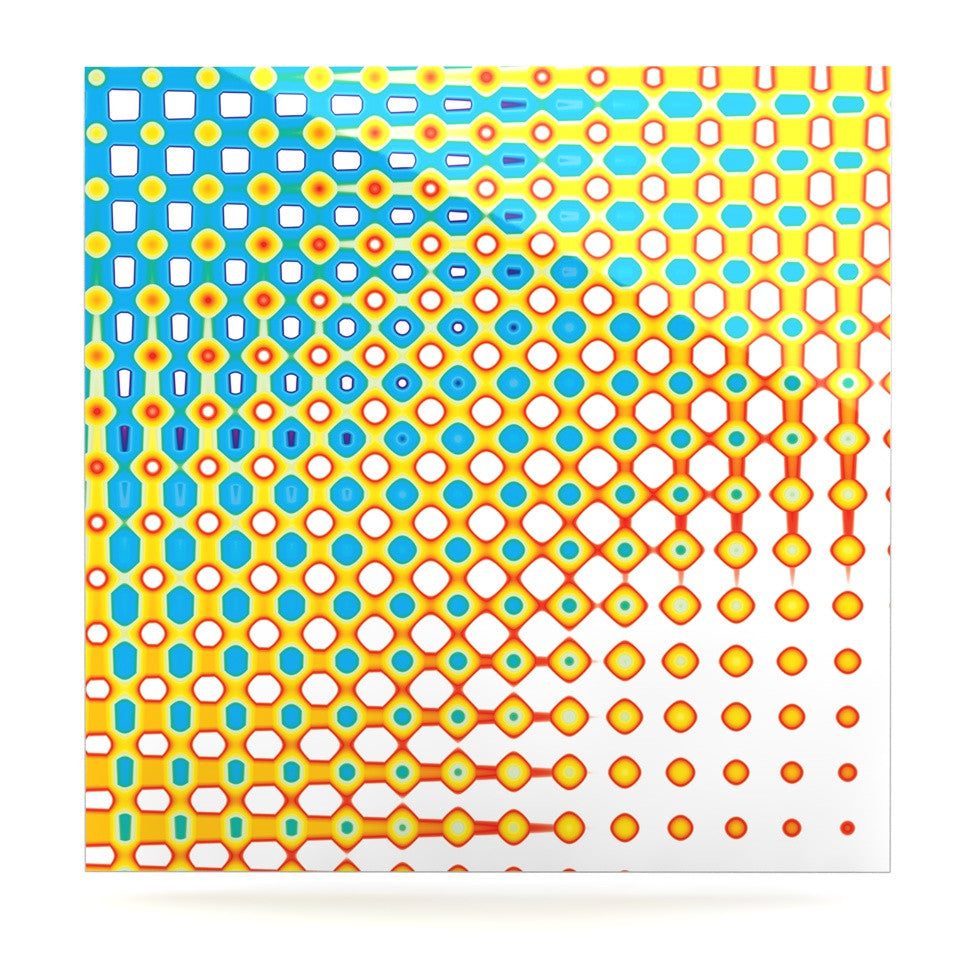 "Dawid Roc ""Psychedelic Art"" Yellow Blue Luxe Square Panel - KESS InHouse  - 1"