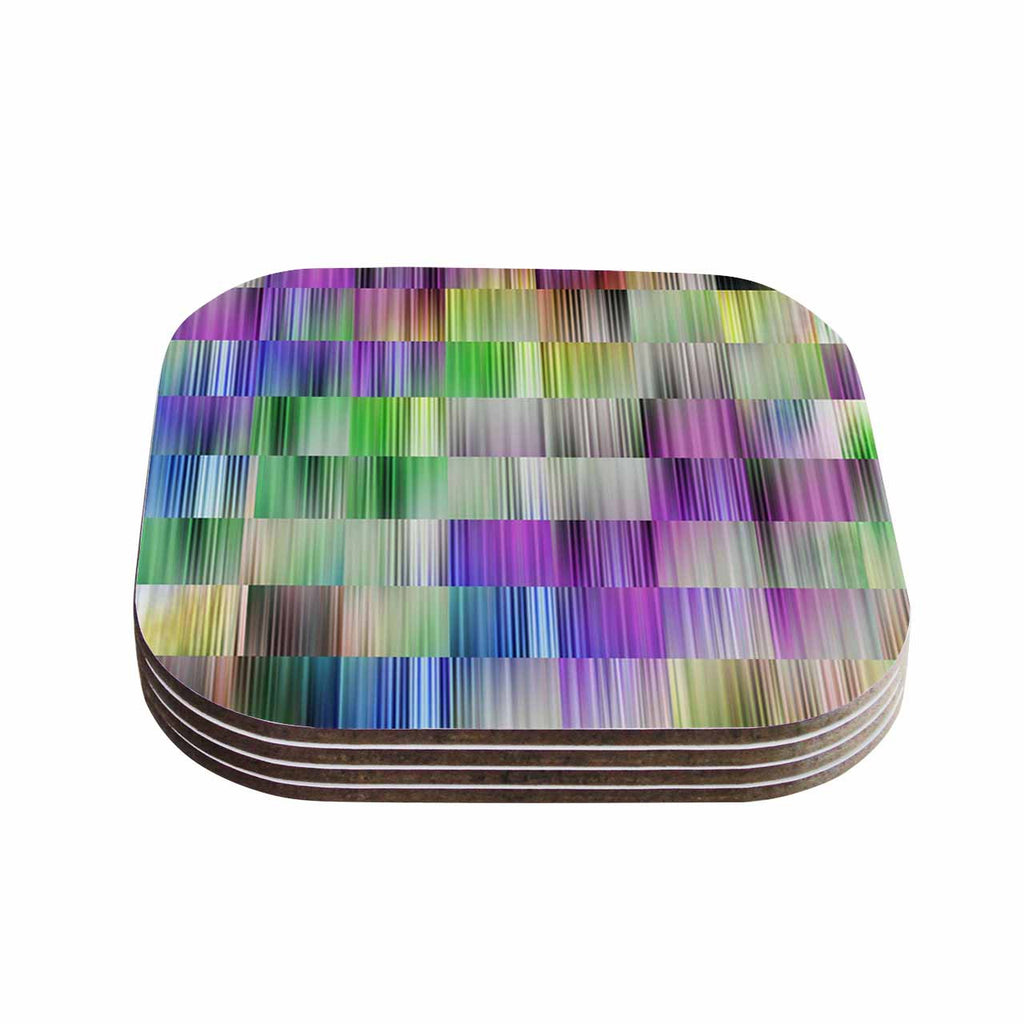 "Dawid Roc ""Sweet Pastel Lines 3"" Multicolor Magenta Coasters (Set of 4)"