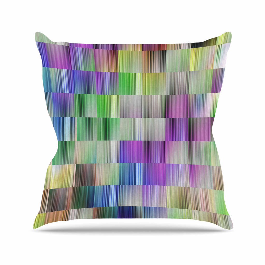 "Dawid Roc ""Sweet Pastel Lines 3"" Multicolor Magenta Outdoor Throw Pillow - KESS InHouse  - 1"