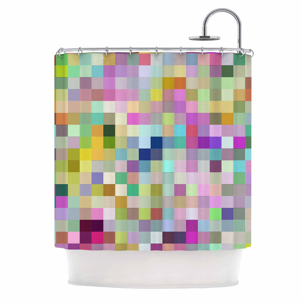 "Dawid Roc ""Colorful Pixels"" Multicolor Blue Shower Curtain - KESS InHouse"