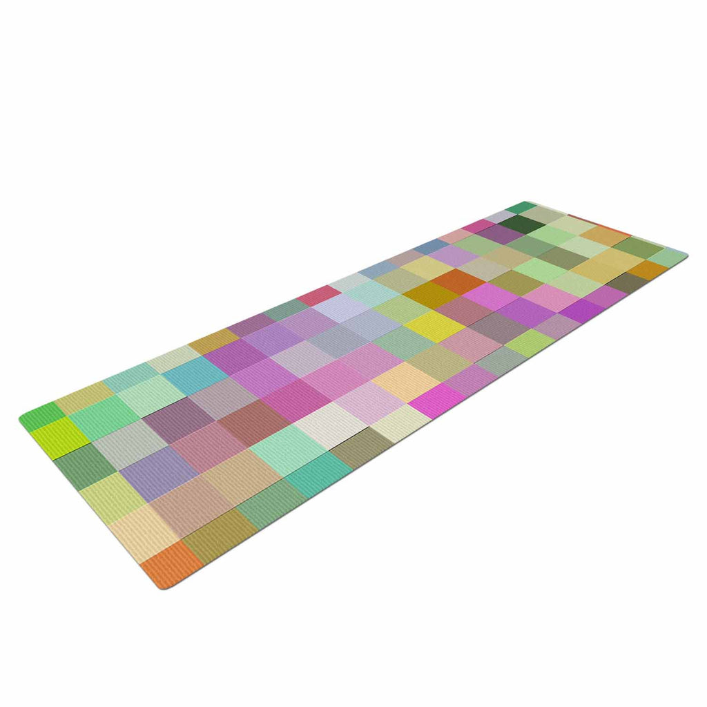 "Dawid Roc ""Colorful Pixels"" Multicolor Blue Yoga Mat - KESS InHouse  - 1"