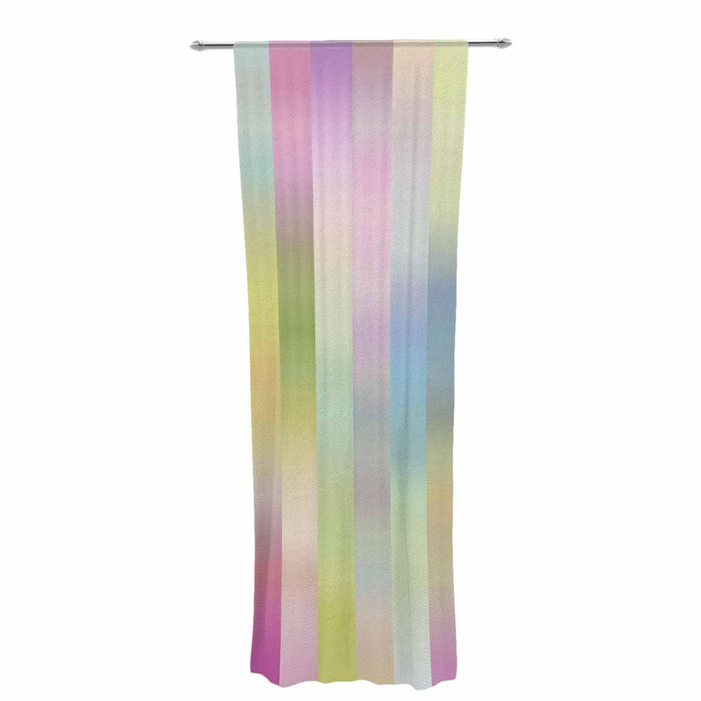 "Dawid Roc ""Sweet Pastel Lines 1"" Green Pink Decorative Sheer Curtain - KESS InHouse  - 1"