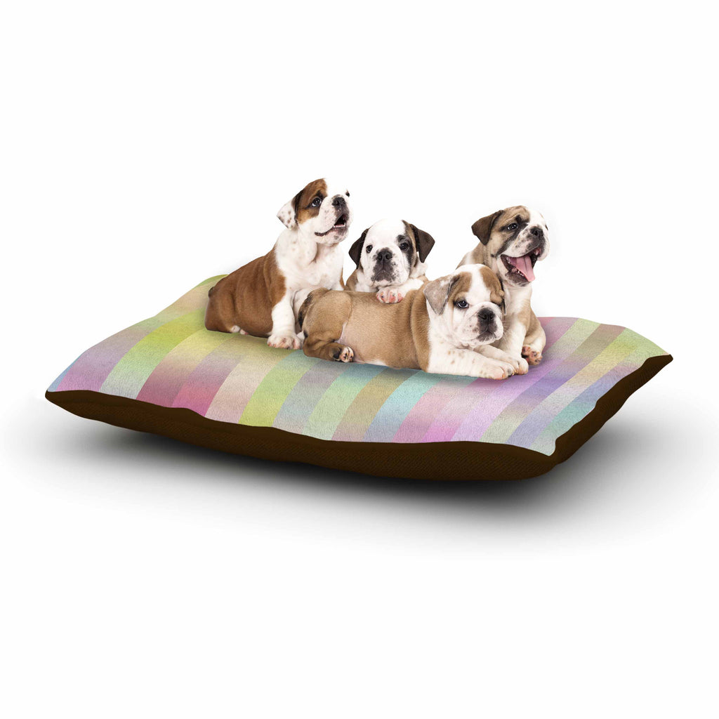 "Dawid Roc ""Sweet Pastel Lines 1"" Green Pink Dog Bed - KESS InHouse  - 1"