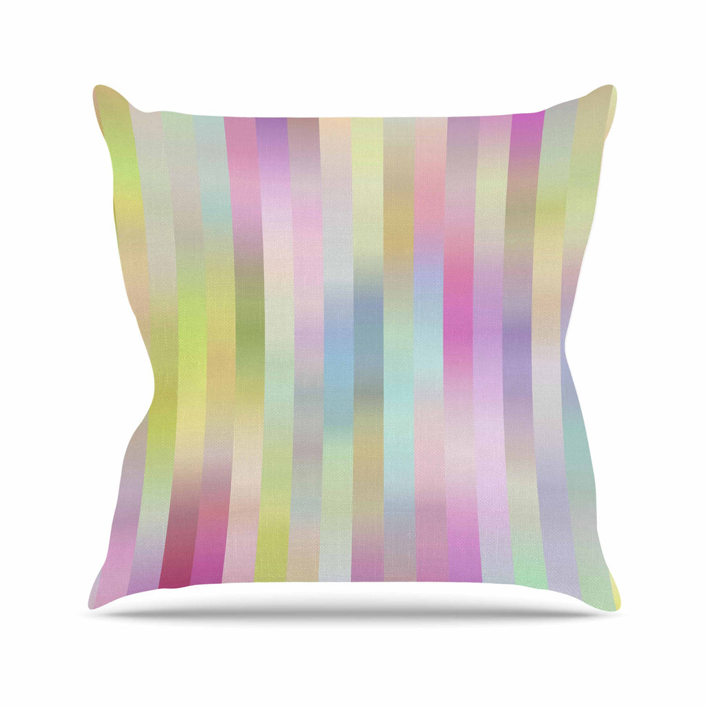 "Dawid Roc ""Sweet Pastel Lines 1"" Green Pink Outdoor Throw Pillow - KESS InHouse  - 1"