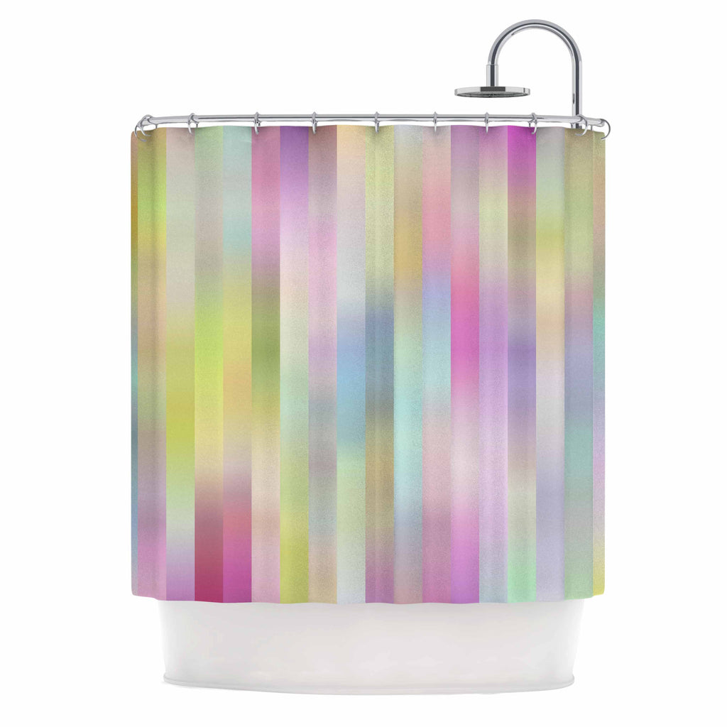 "Dawid Roc ""Sweet Pastel Lines 1"" Green Pink Shower Curtain - KESS InHouse"