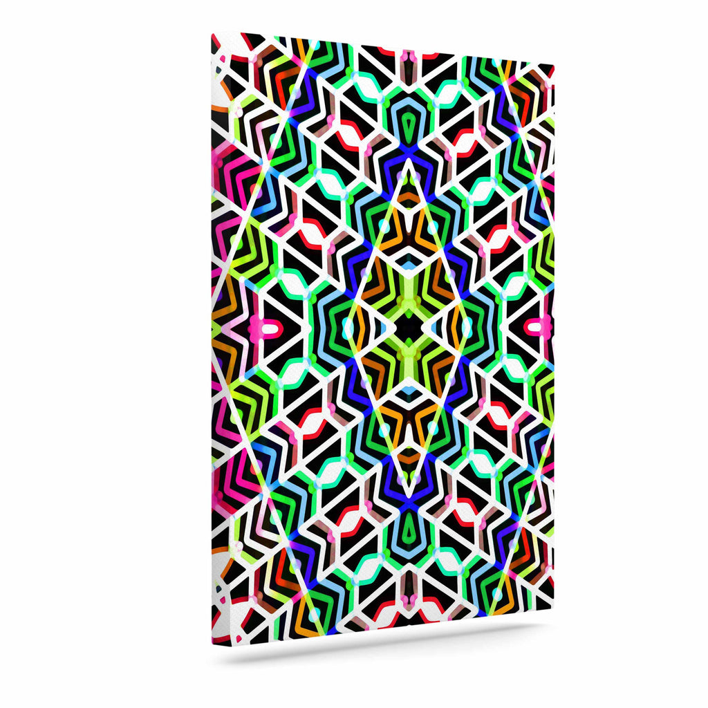 "Dawid Roc ""Colorful Tribal Pattern"" Multicolor Blue Canvas Art - KESS InHouse  - 1"