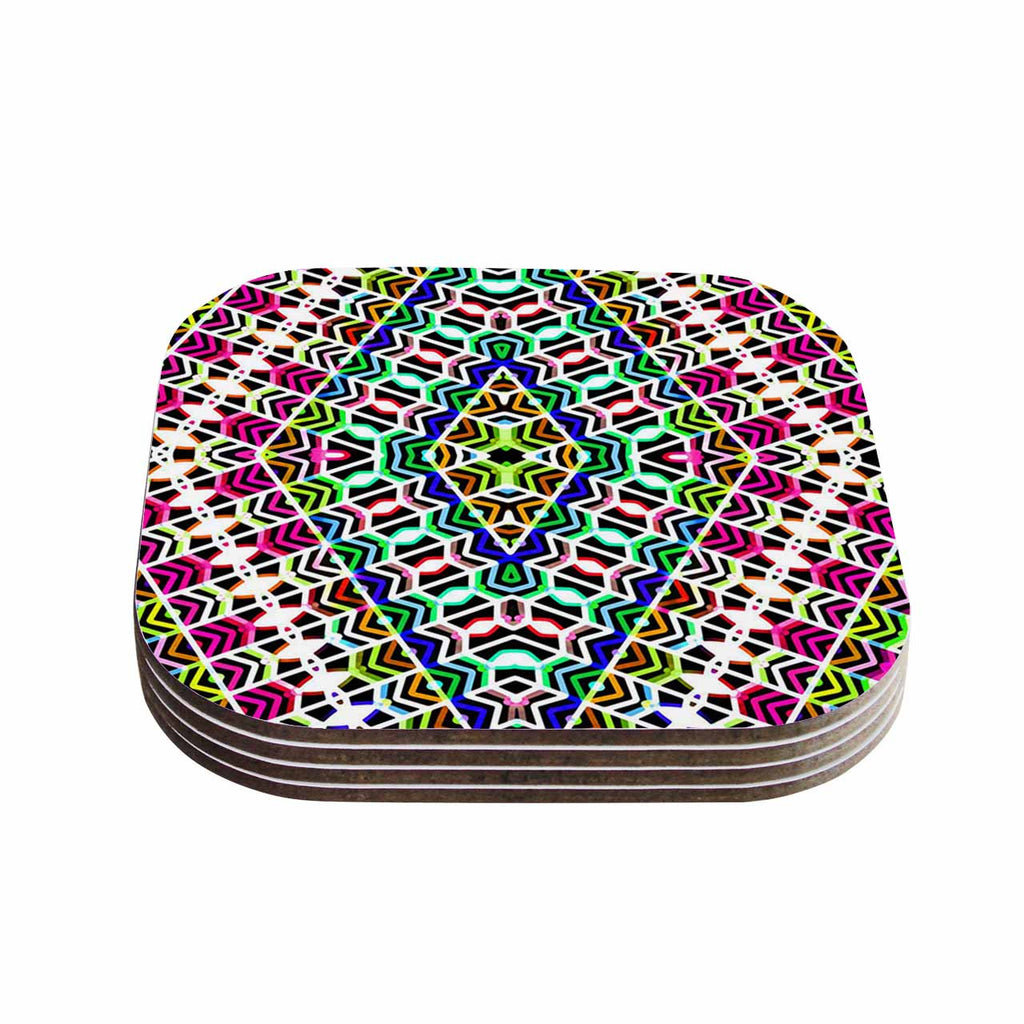 "Dawid Roc ""Colorful Tribal Pattern"" Multicolor Blue Coasters (Set of 4)"