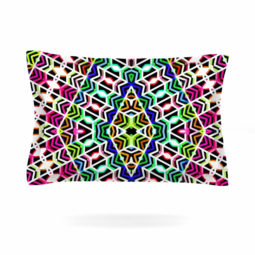 "Dawid Roc ""Colorful Tribal Pattern"" Multicolor Blue Pillow Sham - KESS InHouse  - 1"