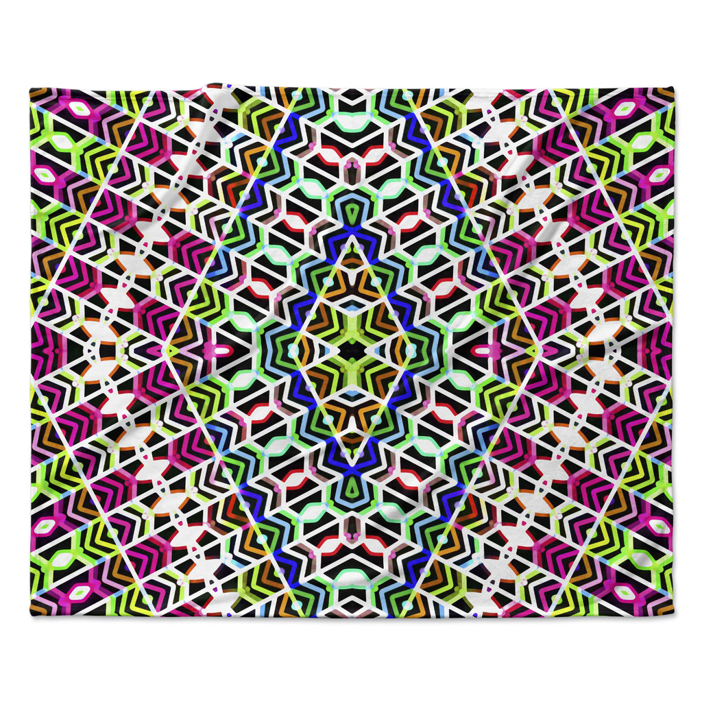 "Dawid Roc ""Colorful Tribal Pattern"" Multicolor Blue Fleece Throw Blanket"