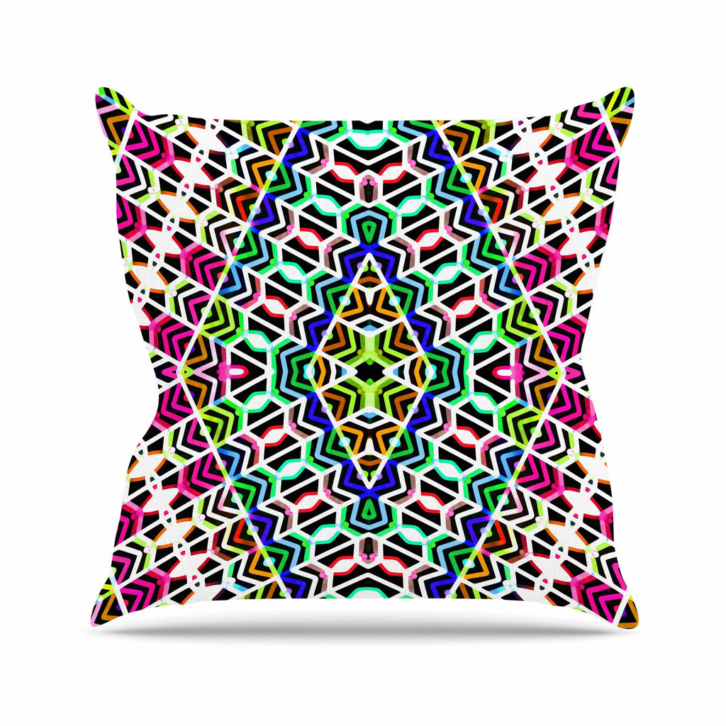 "Dawid Roc ""Colorful Tribal Pattern"" Multicolor Blue Outdoor Throw Pillow - KESS InHouse  - 1"