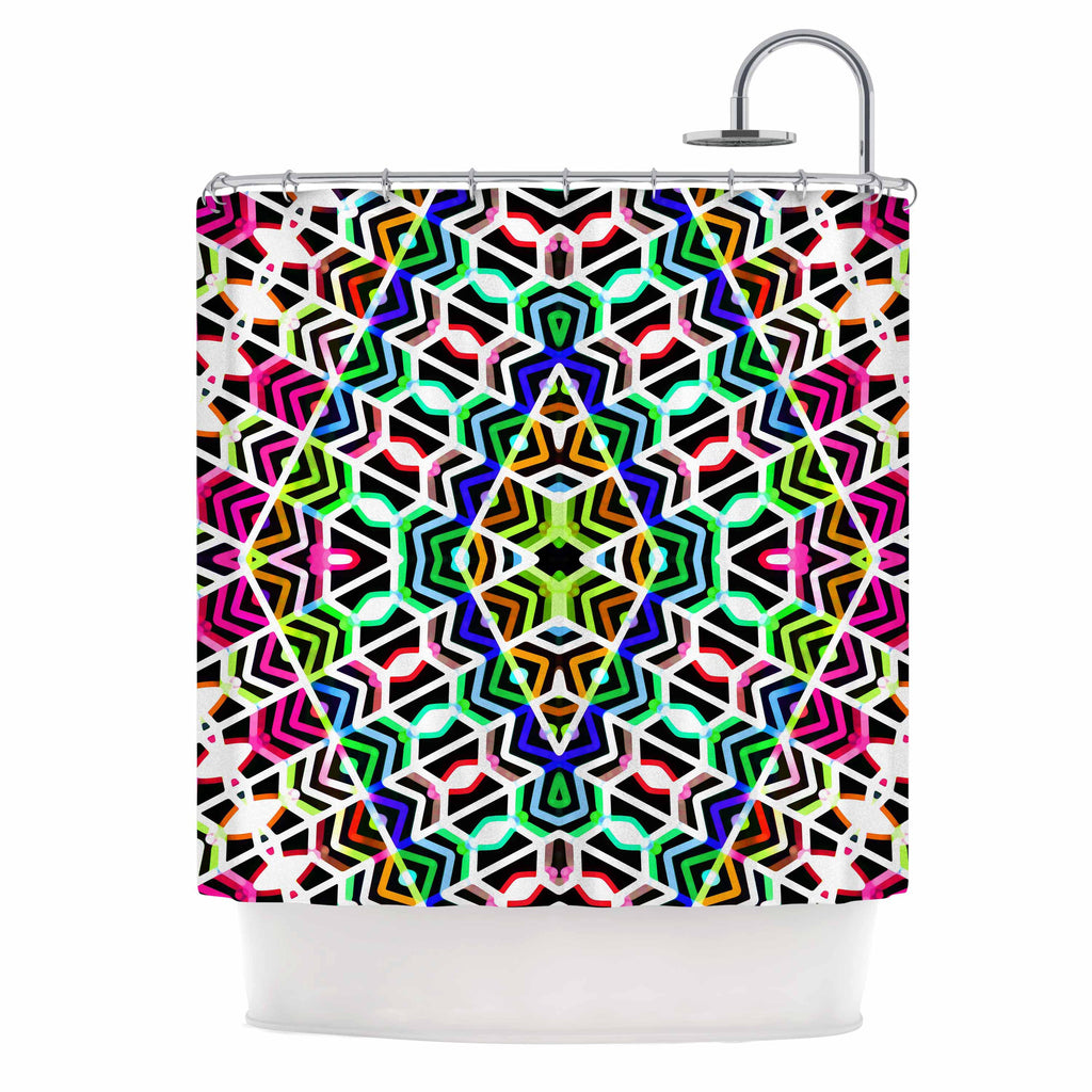 "Dawid Roc ""Colorful Tribal Pattern"" Multicolor Blue Shower Curtain - KESS InHouse"