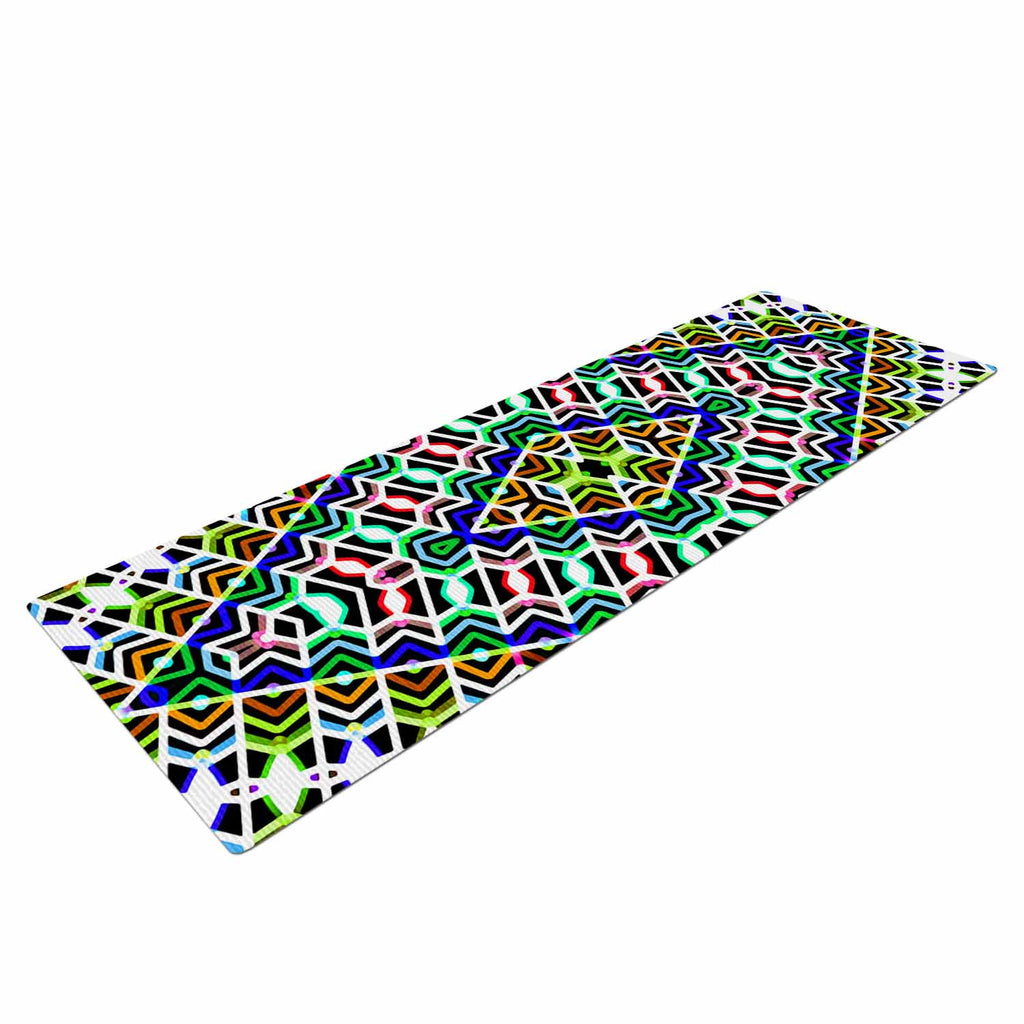 "Dawid Roc ""Colorful Tribal Pattern"" Multicolor Blue Yoga Mat - KESS InHouse  - 1"