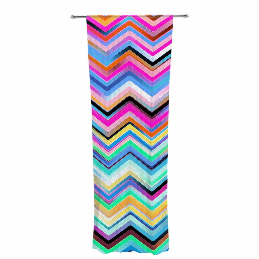 "Dawid Roc ""Colorful Rainbow Chevron"" Multicolor Blue Decorative Sheer Curtain - KESS InHouse  - 1"