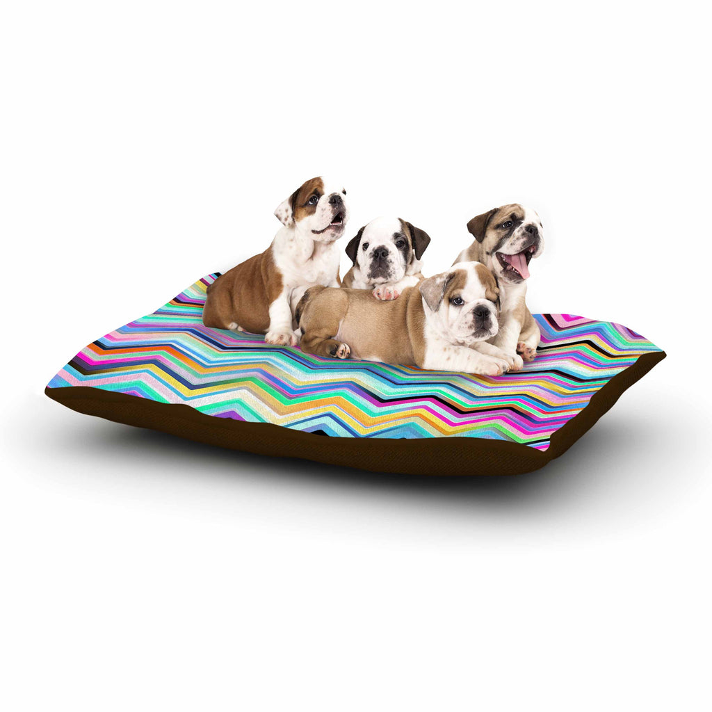 "Dawid Roc ""Colorful Rainbow Chevron"" Multicolor Blue Dog Bed - KESS InHouse  - 1"