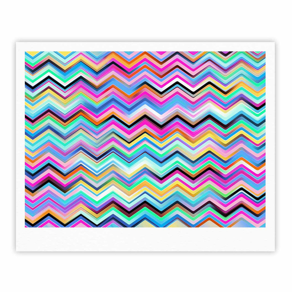"Dawid Roc ""Colorful Rainbow Chevron"" Multicolor Blue Fine Art Gallery Print - KESS InHouse"