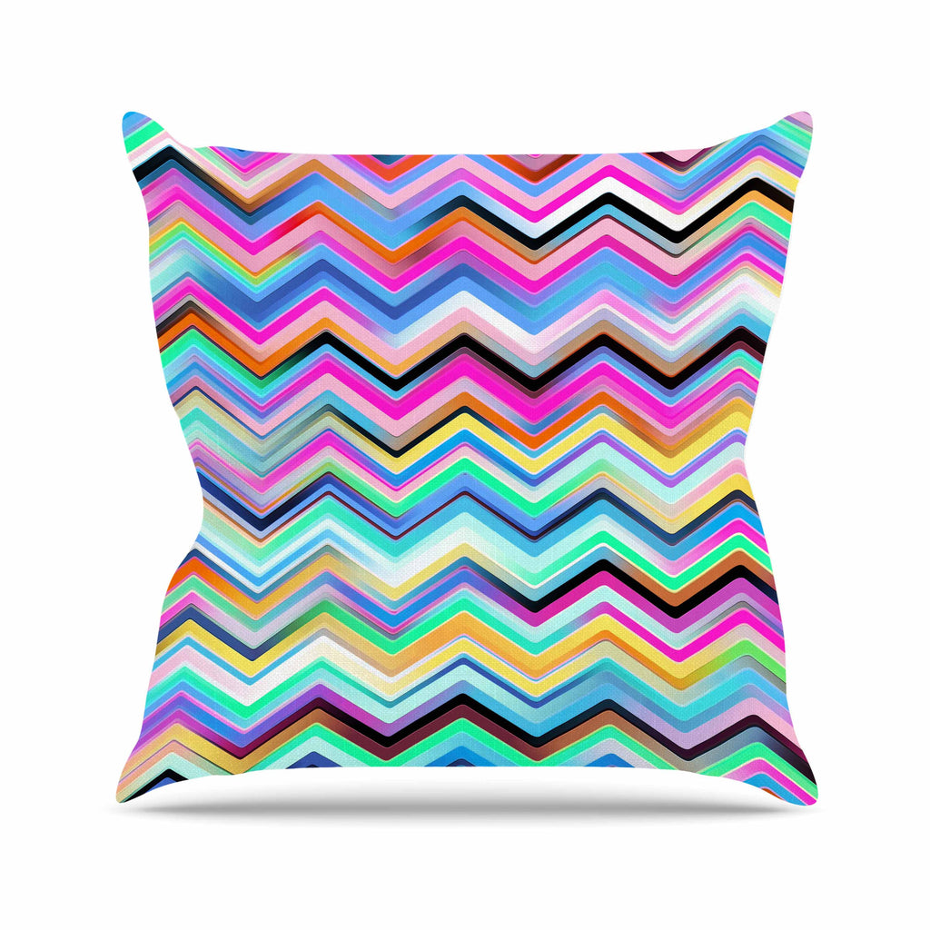"Dawid Roc ""Colorful Rainbow Chevron"" Multicolor Blue Outdoor Throw Pillow - KESS InHouse  - 1"